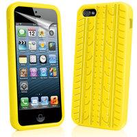 Силиконовый чехол накладка Tyre Tread Case для iPhone 5 / 5s / SE желтый протектор шины