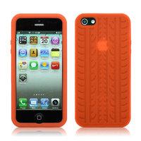 Силиконовый чехол накладка Tyre Tread Case Orange для iPhone 5 / 5s / SE оранжевый протектор шины