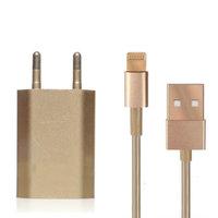 Золотая зарядка 2 в 1 для iPhone 5s / 5 / 6s / 6 / SE Gold зарядное устройство + кабель Lighting