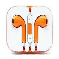 Оранжевые стерео наушники для iPhone 5s / 5 гарнитура с микрофоном и регулировкой громкости