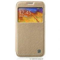 Чехол книжка с окошком HOCO для Samsung Galaxy S5 золотой