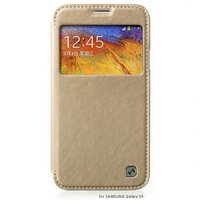 Чехол книжка HOCO для Samsung Galaxy S5 mini золотой с окошком - HOCO Crystal View Gold