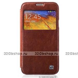 Чехол книжка с окошком HOCO для Samsung Galaxy S5 коричневый