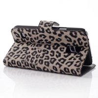 Чехол кошелек для Samsung Galaxy S5 коричневый леопард - Leopard Wallet Case Brown
