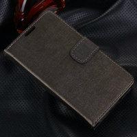 Серый чехол кошелек для Samsung Galaxy S5 - Grain Pattern Wallet Case Grey