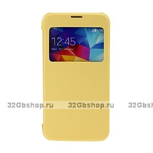 Чехол книжка c окном для Samsung Galaxy S5 mini желтый S View and Plastic Back Case Yellow