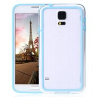 Чехол бампер для Samsung Galaxy S5 прозрачный с голубой вставкой