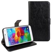 Черный чехол кошелек для Samsung Galaxy S5 mini - Crazy Horse Wallet Black Case