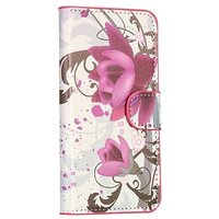 Чехол кошелек c рисунком цветы для Samsung Galaxy S5 - Lotus Pattern Wallet Case