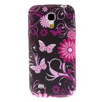 Силиконовый чехол для Samsung Galaxy S4 mini черный с узором бабочк и цветы