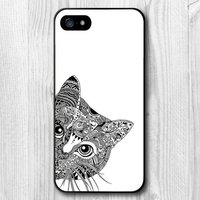 Чехол накладка для iPhone 5s / SE / 5 белая,кот