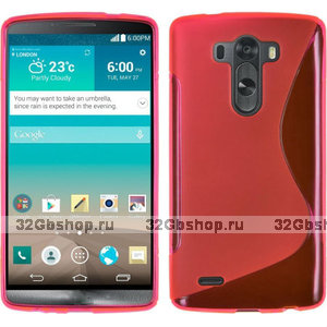 Красный силиконовый чехол для LG G3 - Type S Line Case Red