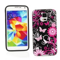 Силиконовый чехол для Samsung Galaxy S5 черный с узорами цветы и бабочки