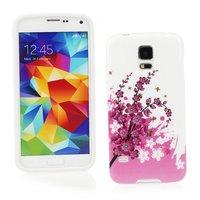 Чехол силиконовый для Samsung Galaxy S5 mini с рисунком розовые цветы