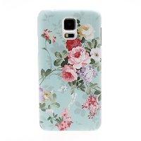 Пластиковый зеленый чехол c цветами для Samsung Galaxy S5 - Small Fresh Flowers Pattern Plastic Case