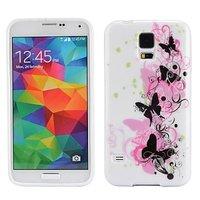 Силиконовый чехол для Samsung Galaxy S5 розовые и черные бабочки