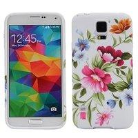 Силиконовый чехол с цветами для Samsung Galaxy S5 розовые и желтые пионы