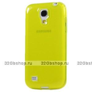 Желтый прозрачный силиконовый чехол для Samsung Galaxy S4 Mini
