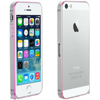 Металлический бампер Fashion Silver&Pink для iPhone 5s / SE / 5 серебряный с розовой гранью