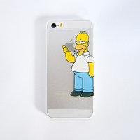 Чехол накладка для iPhone 5 / 5s / SE прозрачный Симпсон кусает яблоко
