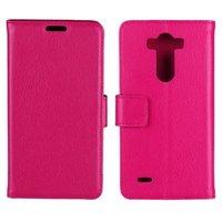 Чехол кошелек для LG G3 s розовый - Crazy Hourse Wallet Case Stand Pink