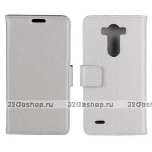 Чехол кошелек для LG G3 s белый - Crazy Hourse Wallet Case Stand White
