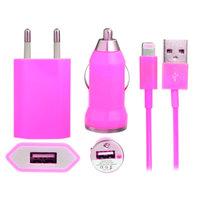 Розовая зарядка 3 в 1 для iPhone 5s / 5c / 5 авто зу, сетевое зу и кабель