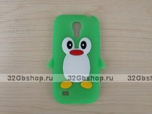 Силиконовый чехол для Samsung Galaxy S4 mini пингвин зеленый