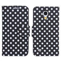 Чехол книга для Samsung Galaxy S4 Mini черный в белый горошек - Polka Dots Case Black/White