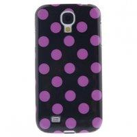 Силиконовый чехол для Samsung Galaxy S4 черный с розовыми точками - Polka Dots Black&Pink