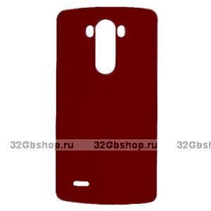 Темно-красный пластиковый чехол для LG Optimus G3 - Rubberized Plastic Case Dark Red