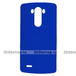 Пластиковый чехол для LG G3 S / mini синий - Matte Plastic Case Dark Blue