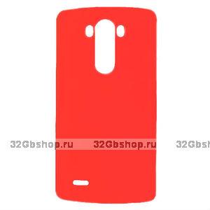 Красный пластиковый чехол для LG Optimus G3 - Rubberized Plastic Case Red