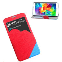 Чехол с фигурным окошком для Samsung Galaxy S5 красный с голубым - S View Cloud Case Red&Blue