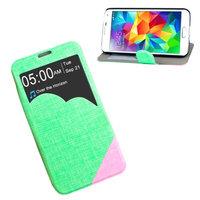 Чехол с фигурным окошком для Samsung Galaxy S5 зеленый с розовым - S View Cloud Case Green&Red