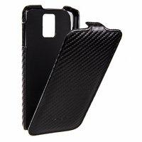 Кожаный чехол Melkco для Samsung Galaxy S5 черный карбон - Leather Case Jacka Type Carbon Black