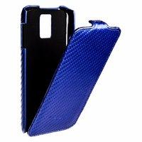 Кожаный чехол Melkco для Samsung Galaxy S5 синий карбон - Leather Case Jacka Type Carbon Blue