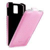 Кожаный чехол Melkco для Samsung Galaxy S5 розовый карбон - Leather Case Jacka Type Carbon Pink