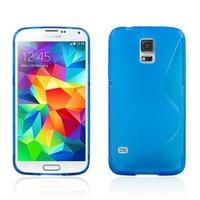 Силиконовый чехол для Samsung Galaxy S5 mini голубой - S Style TPU Case Blue