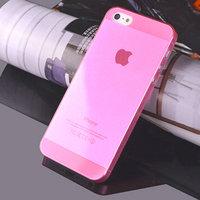 Чехол накладка для iPhone 5s / SE / 5 светло-розовый прозрачный пластик