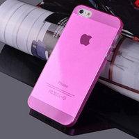 Чехол накладка для iPhone 5s / SE / 5 розовый прозрачный пластик