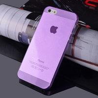 Чехол накладка для iPhone 5s / SE / 5 фиолетовый прозрачный пластик