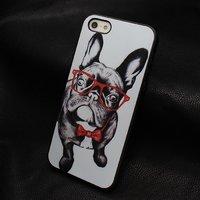 Чехол накладка для iPhone 5s / SE / 5 Бульдог в очках