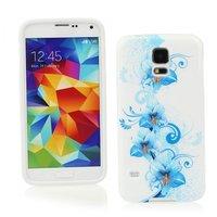Чехол силиконовый для Samsung Galaxy S5 mini голубые узоры и цветы