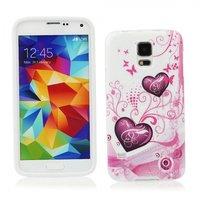 Чехол силиконовый для Samsung Galaxy S5 mini розовые сердца и узоры