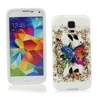 Чехол силиконовый для Samsung Galaxy S5 mini разноцветная бабочка и узоры
