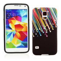 Чехол силиконовый для Samsung Galaxy S5 mini черный с рисунком метеоритный дождь
