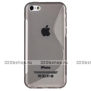 Cиликоновый чехол накладка S Style Grey Case для iPhone 5c серый