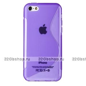 Cиликоновый чехол накладка S Style Purple Case для iPhone 5c фиолетовый