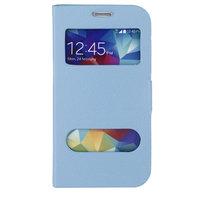 Чехол книга для Samsung Galaxy S5 голубая с окошком
